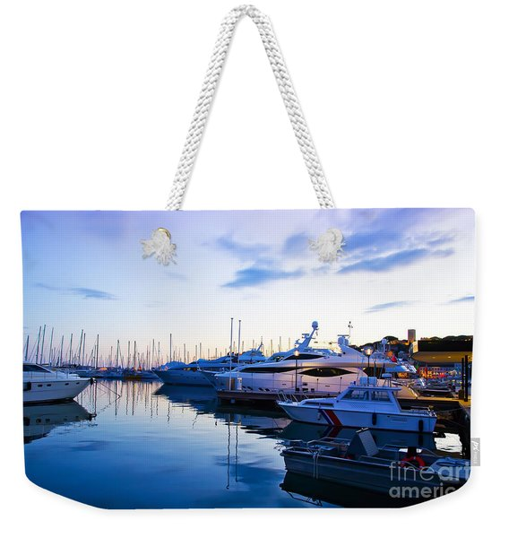evening at water in Cannes Weekender Tote Bag