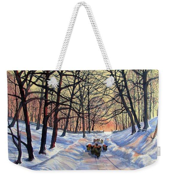 Evening Glow On A Winter Lane Weekender Tote Bag