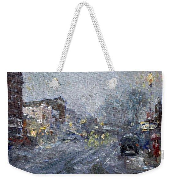 Evening Snowfall At Webster St Weekender Tote Bag