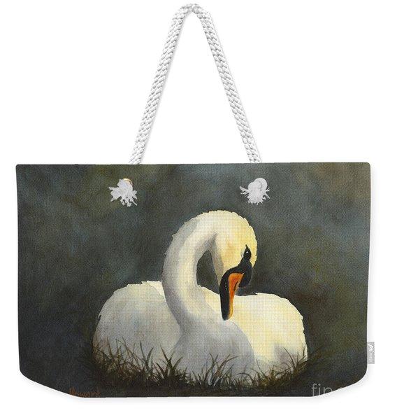 Evening Swan Weekender Tote Bag