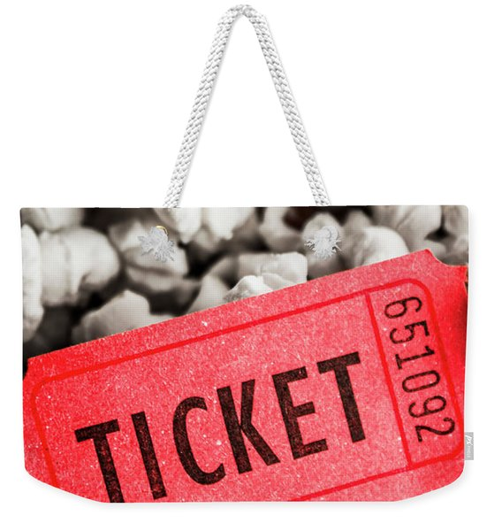 Event Ticket Lying On Pile Of Popcorn Weekender Tote Bag