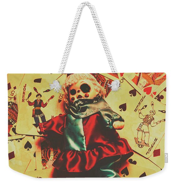 Evil Clown Doll On Playing Cards Weekender Tote Bag