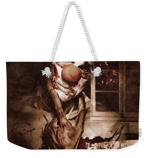 Evil Clown Musing With Scary Expression Weekender Tote Bag