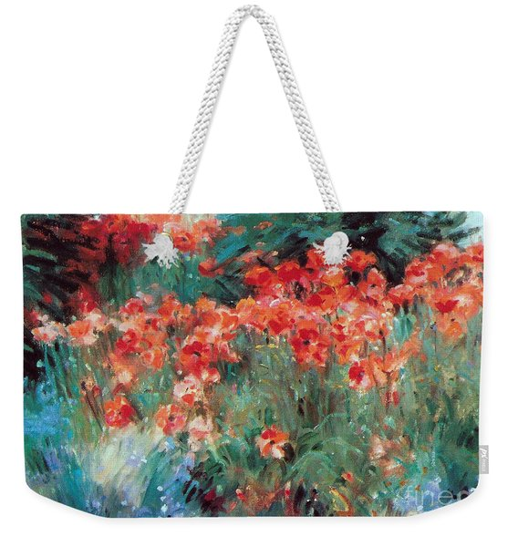 Weekender Tote Bag featuring the painting Excitment by Rosario Piazza