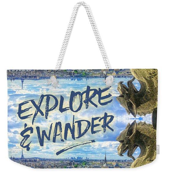 Explore And Wander Notre Dame Cathedral Gargoyle Paris Weekender Tote Bag