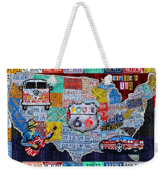 Explore The Usa License Plate Art And Map Travel Collage Weekender Tote Bag