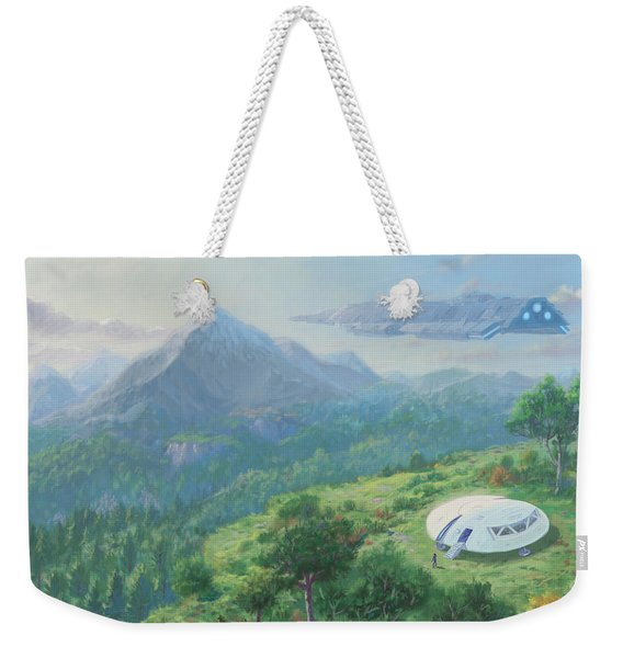 Exploring New Landscape Spaceship Weekender Tote Bag