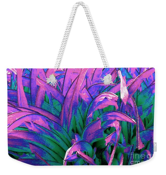 Weekender Tote Bag featuring the painting Expressive Abstract Grass Series A1 by Mas Art Studio