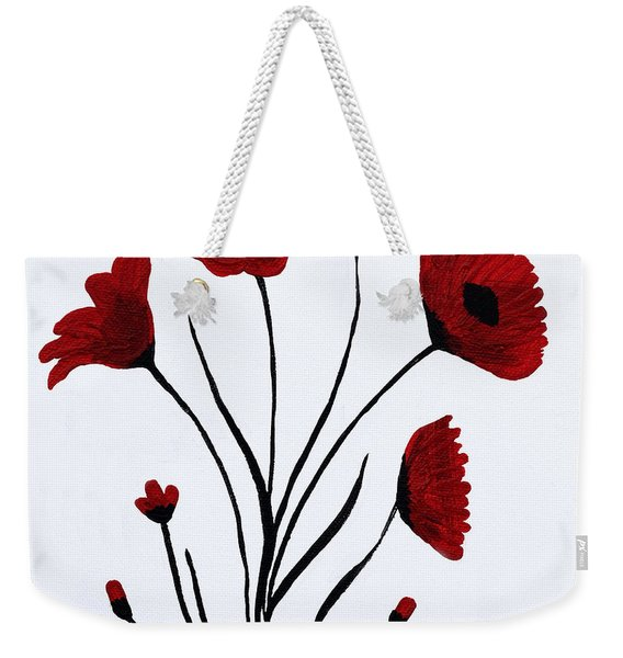 Weekender Tote Bag featuring the painting Expressive Abstract Poppies A61216b_e by Mas Art Studio