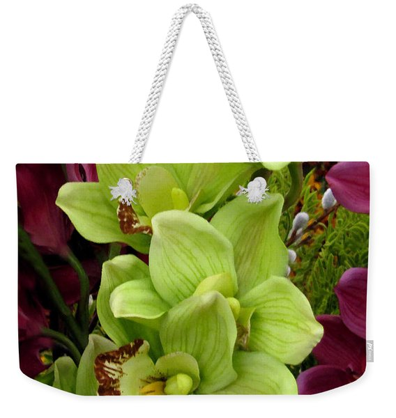 Weekender Tote Bag featuring the painting Expressive Botanical Orchids 715 by Mas Art Studio