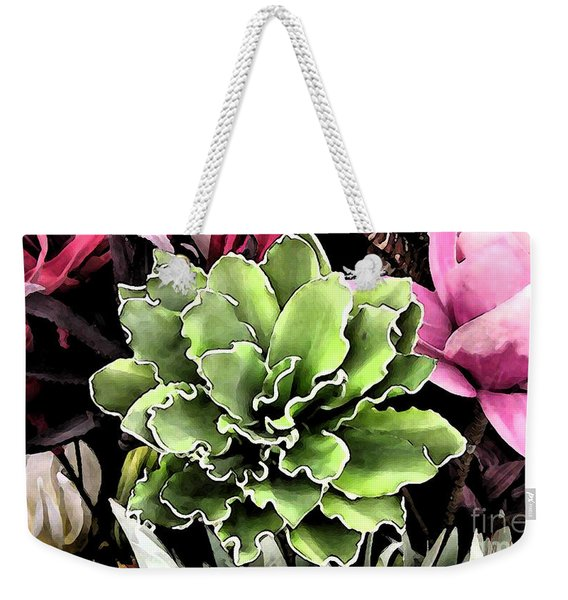 Weekender Tote Bag featuring the painting Expressive Digital Tropical Floral Photo 001a by Mas Art Studio