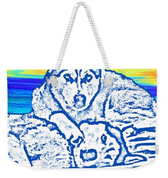 Weekender Tote Bag featuring the painting Expressive Huskies Mixed Media C51816 by Mas Art Studio