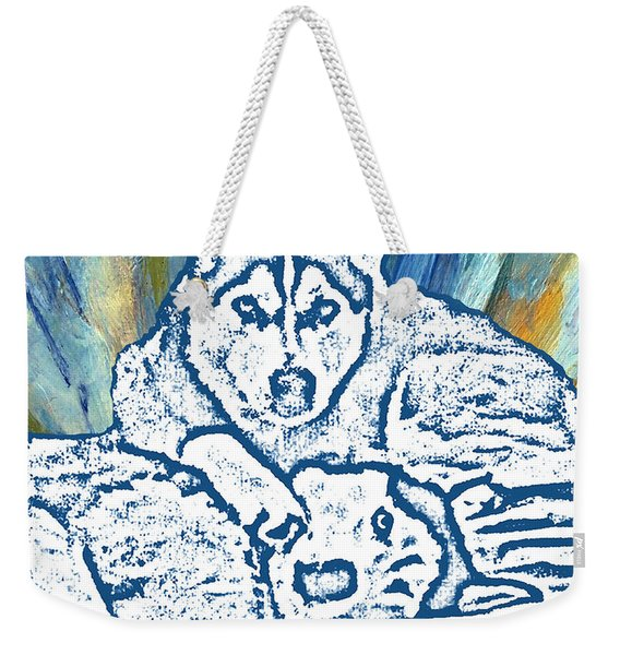 Weekender Tote Bag featuring the painting Expressive Huskies Mixed Media F51816 by Mas Art Studio