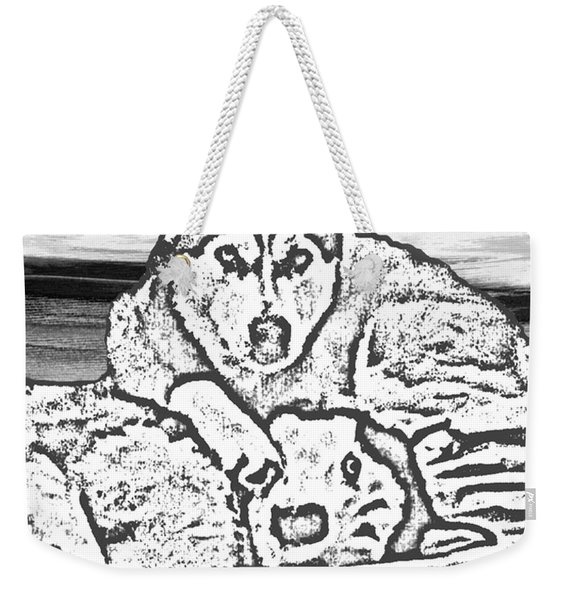 Weekender Tote Bag featuring the photograph Expressive Huskies Mixed Media G51816_e by Mas Art Studio