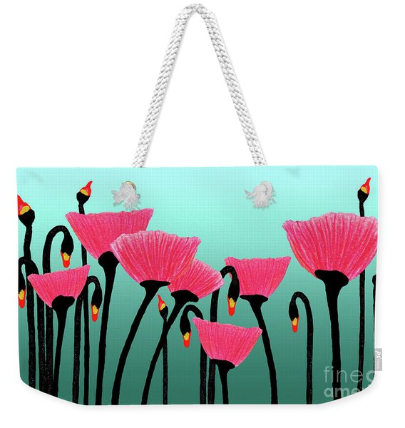 Expressive Red Pink Green Poppy Painting Y1a Weekender Tote Bag