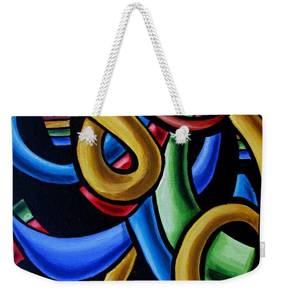 Colorful Illusion Optical Eye Art Painting Chromatic Art - Multicolor Chromatic Energy Flow Art  Weekender Tote Bag
