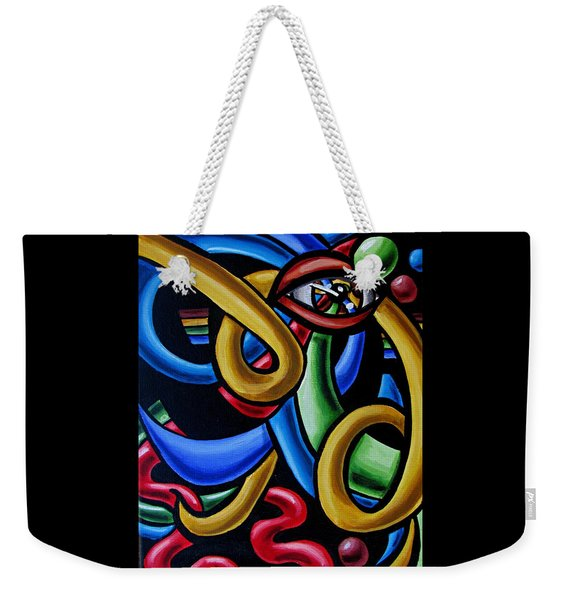 Eye Art Print Chromatic Abstract Art Painting Colorful Optical Artwork  Weekender Tote Bag