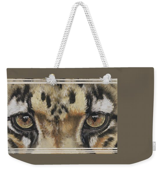 Weekender Tote Bag featuring the painting Clouded Leopard Gaze by Barbara Keith