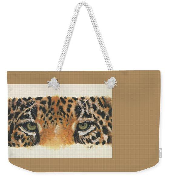 Weekender Tote Bag featuring the painting Jaguar Gaze by Barbara Keith