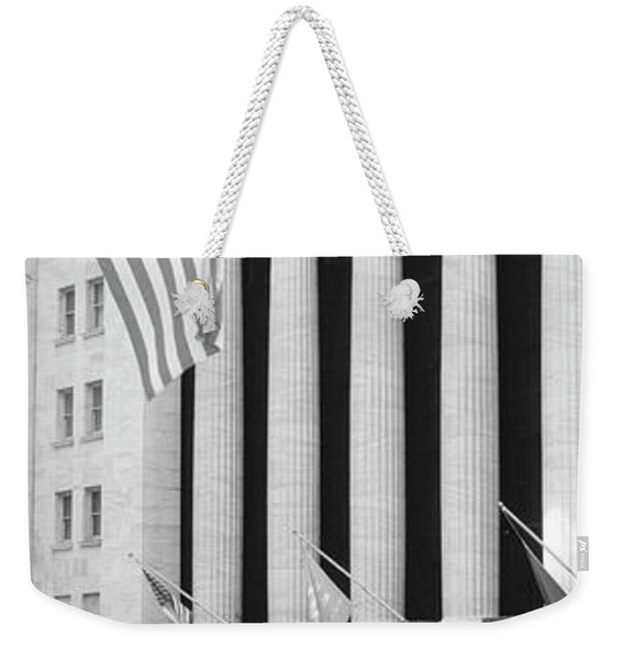 Facade Of New York Stock Exchange, Manhattan, New York City, New York State, Usa Weekender Tote Bag