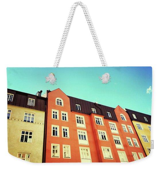 Facades Of Colorful Buildings In Stockholm Weekender Tote Bag