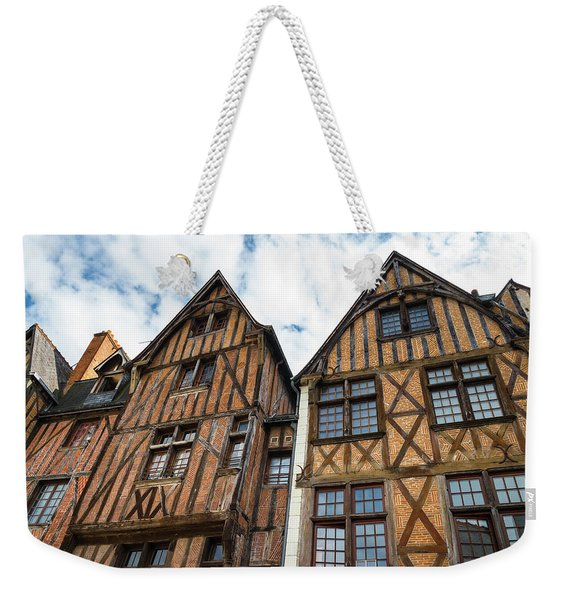 Facades Of Half-timbered Houses In Tours, France Weekender Tote Bag