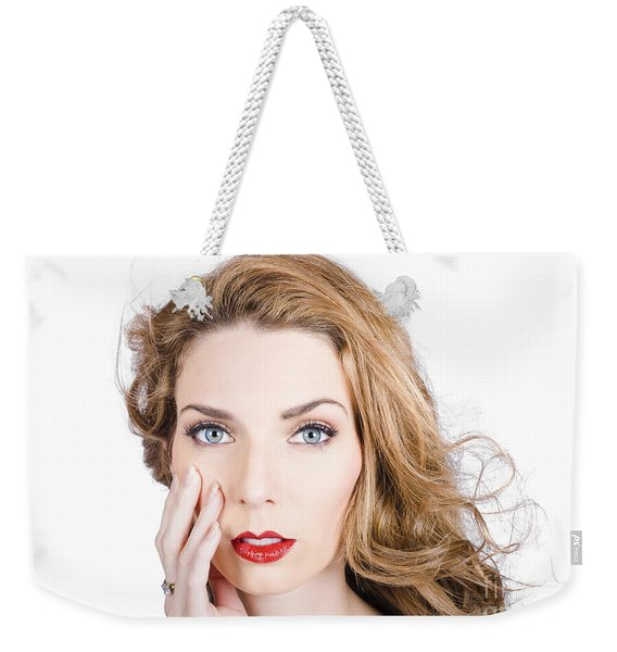 Face Of An Attractive Young Girl. Cosmetic Model Weekender Tote Bag