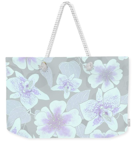 Faded Gray Spotted Orchids Weekender Tote Bag