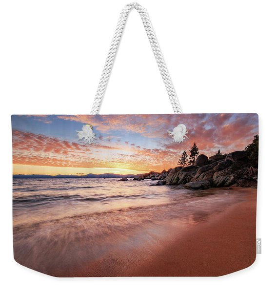 Fading Sunset Waves At Sand Harbor Weekender Tote Bag