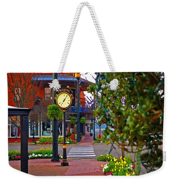Fairhope Ave With Clock Down Section Street Weekender Tote Bag