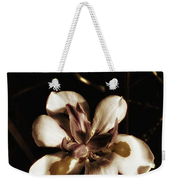 Weekender Tote Bag featuring the photograph Fairy Iris. A Butterfly Landed On My by Mr Photojimsf
