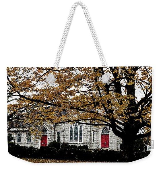 Fall At Church Weekender Tote Bag