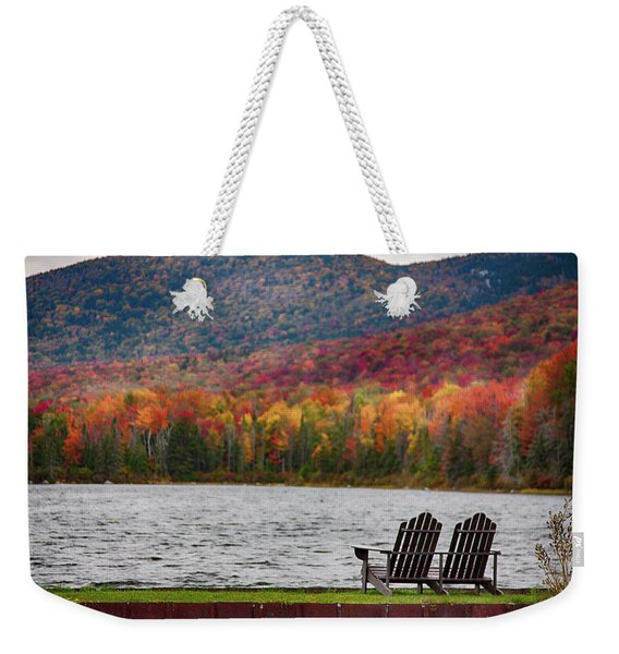 Weekender Tote Bag featuring the photograph Fall Foliage At Noyes Pond by Jeff Folger
