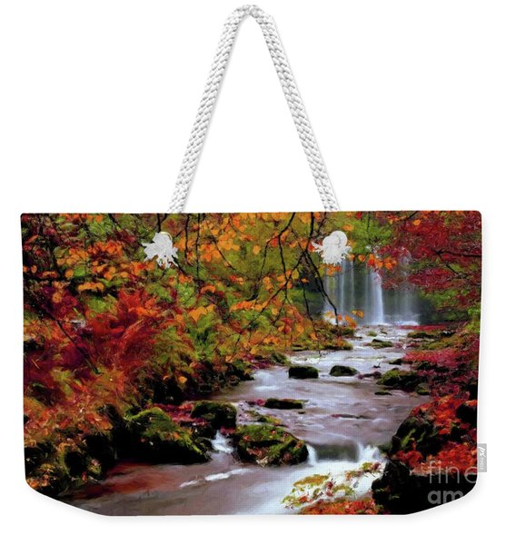 Weekender Tote Bag featuring the painting  Fall It's Here by Rosario Piazza