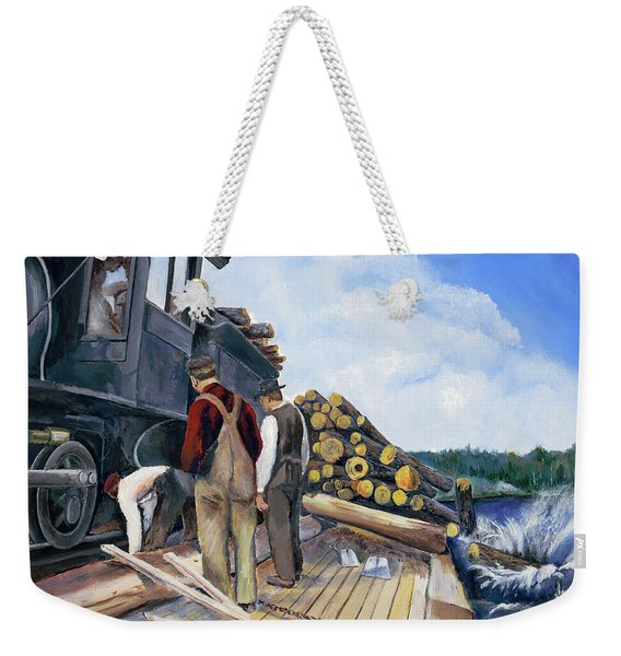 Fall Lake Train Weekender Tote Bag