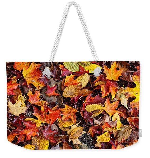 Fall Leaves On Forest Floor Weekender Tote Bag