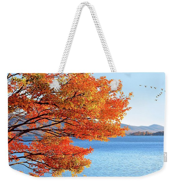 Fall Maple Tree Graces Smith Mountain Lake, Va Weekender Tote Bag