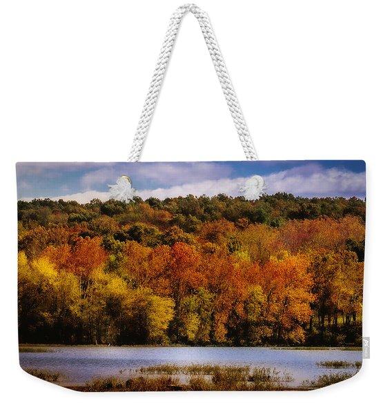 Fall On Springfield Lake Weekender Tote Bag