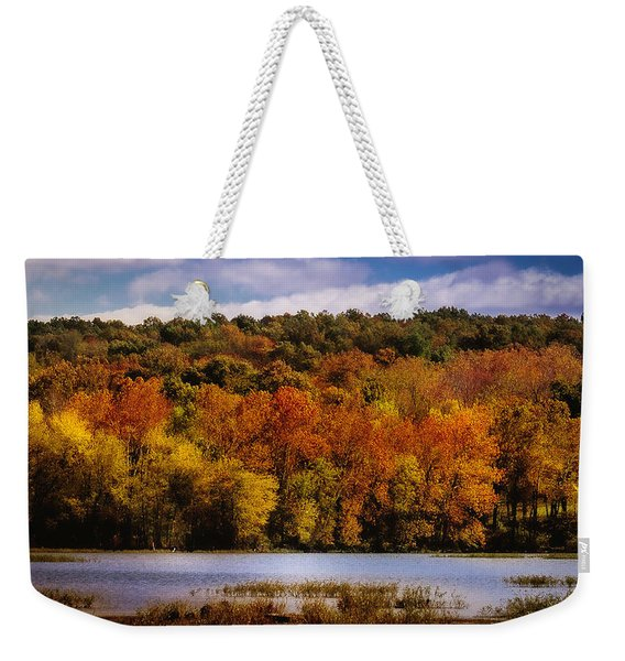 Fall On Springfield Lake Weekender Tote Bag