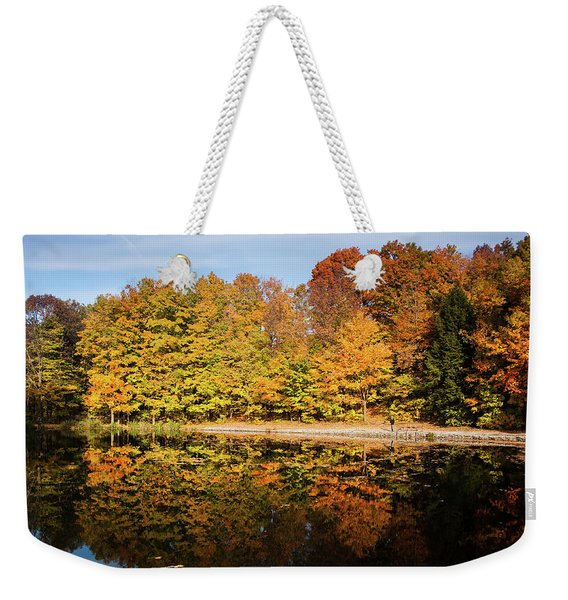 Fall Ontario Forest Reflecting In Pond  Weekender Tote Bag