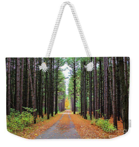 Fall Pines Road Weekender Tote Bag