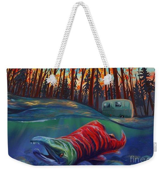 Fall Salmon Fishing Weekender Tote Bag
