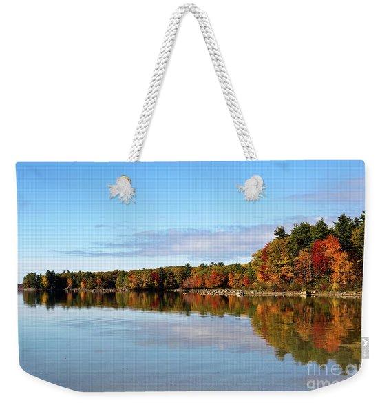 Fall Tree Reflections Lake Sabago Maine Weekender Tote Bag