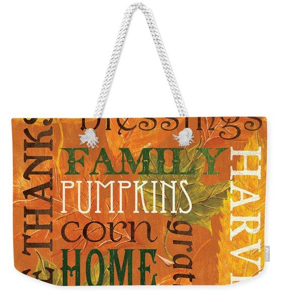 Fall Typography 1 Weekender Tote Bag