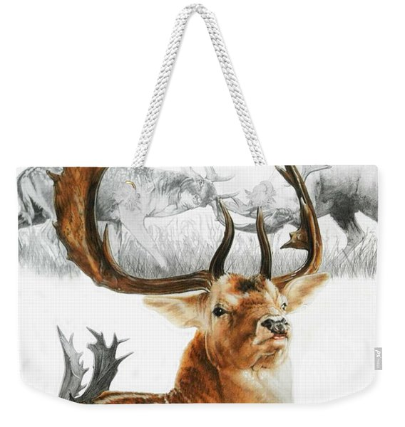 Weekender Tote Bag featuring the mixed media Fallow Deer by Barbara Keith