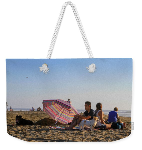 Family At Ocean Beach With Dogs Weekender Tote Bag