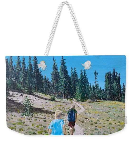 Weekender Tote Bag featuring the painting Family Hike by Kevin Daly