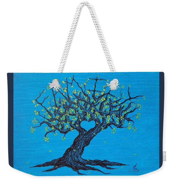 Weekender Tote Bag featuring the drawing Family Love Tree by Aaron Bombalicki
