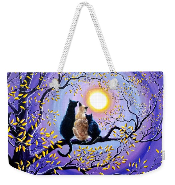 Family Moon Gazing Night Weekender Tote Bag
