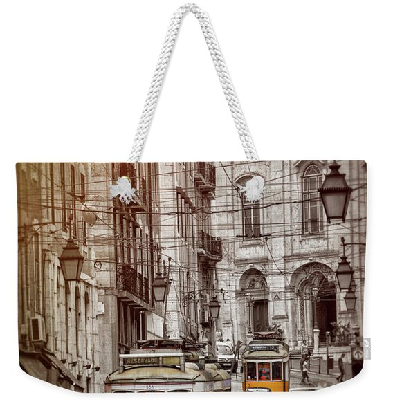 Famous Yellow Trams Of Lisbon Portugal  Weekender Tote Bag